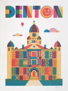 * Original illustration of the iconic Denton, Texas Courthouse * 18 x 24 inch hand-pulled screen print * Teal + Pink + Light Orange on white paper * Signed on front and stamped on back * Ships rolled in a tube, ready to frame