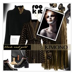 """""""Black & Gold: Rock It!"""" by mcheffer ❤ liked on Polyvore featuring Stella & Dot, Gucci, Lauren Ralph Lauren, Golden Goose, Dodo Bar Or, N'Damus, Calvin Klein, stripes, booties and kimono"""