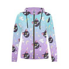 Luna P pattern All Over Print Full Zip Hoodie for Women (Model H14)