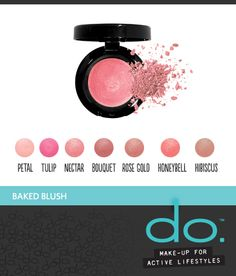 Baked Blush from do. Active Make-Up adds instant radiance to your cheeks with these soft, blendable colors. Silky smooth, highly-pigmented baked blush imparts a natural luminosity and delicate flush of color. Hypoallergenic. Fragrance and paraben-free. #doactivemakeup #bakedblush