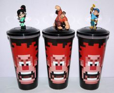 Cup topper figures Wreck it Ralph Full set collectible movie cups Wreck It Ralph, Full Set, Toys, Tableware, Beverage, Movies, Cinema, Ebay, Collection
