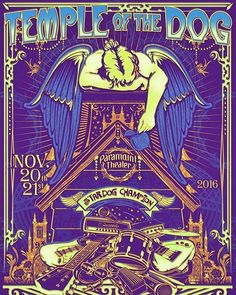 Temple of the dog gig poster, Paramount theater Seattle, November 20-21 2016