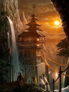 architecture baggy_pants banner bird castle cloud east_asian_architecture flag high_ponytail lake mountain noba outdoors pagoda pants pixiv_fantasia pixiv_fantasia_new_world scenery solo staff sun sunset tree water waterfall Fantasy City, Fantasy Castle, Fantasy Places, Fantasy World, Fantasy Art Landscapes, Fantasy Landscape, Fantasy Artwork, Pixiv Fantasia, Asian Architecture