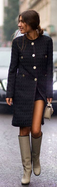 Black coat, gray high boots. Street fall autumn women fashion outfit clothing style apparel @roressclothes closet ideas