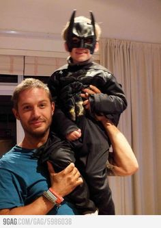 "Tom Hardy ""Bane"" and His Son ""Batman"". @stacia"