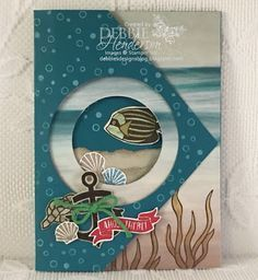 Fancy Flap Card Fold using Stampin' Up! Seaside Shore. Debbie Henderson, Debbie's Designs.