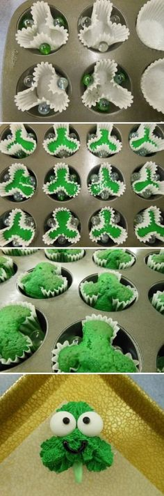 Shamrock Cupcakes recipe and step-by-step decorating instructions that are just cute as all getout! Patrick's Day desserts, cupcakes, shamrock cupcakes using marbles in cupcake tins to make that green clover shape. Deco Cupcake, Cupcake Cakes, Cup Cakes, Cupcake Recipes, Cute Desserts, Delicious Desserts, Holiday Treats, Holiday Recipes, Yummy Treats