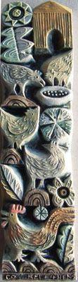 Hilke MacIntyre via boovake blog, chicken, hen, rooster, farm, relief, ceramic