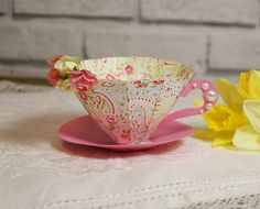 See how to make this charming 3D paper tea cup, perfect for Mother's day crafting, includes a free template