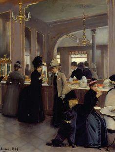 Jean Béraud - La Pâtisserie Gloppe sur les Champs Elysées - Dettaglio (1889)