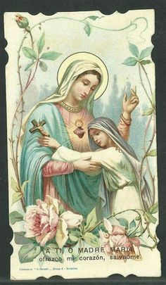 Catholic Religion, Catholic Art, Religious Art, Blessed Mother Mary, Blessed Virgin Mary, Virgin Mary Art, Jesus E Maria, Vintage Holy Cards, Mama Mary