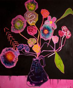 THRUSH HOLMES - FLORAL 2 - 62 X 52 INCHES - MIXED MEDIA ON PANEL