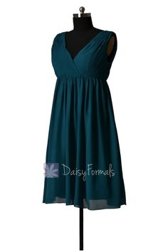 Empire peacock teal chiffon bridal party dress short v-neck dark teal bridesmaid - Empire waist it the biggest feature of the dress which can hid Dark Teal Bridesmaid Dresses, Bridal Party Dresses, Anniversary Parties, Wedding Inspiration, Wedding Ideas, Dream Wedding, Chiffon, Empire, Summer Dresses