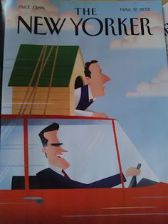 New Yorker Magazine Cover Shows Mitt Romney Driving Car with Rick Santorum in Dog House - The Hinterland Gazette