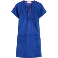 Emilio Pucci Suede Mini-Dress ($3,290) ❤ liked on Polyvore featuring dresses, blue, mini dress, short blue dresses, short summer dresses, metallic dress y royal blue summer dress