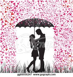 """""""Kissing couple heart rain. Man and woman in love."""" - Rain Stock Photo from Go Graph"""