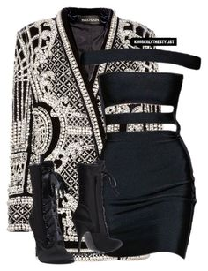 """Untitled #2365"" by kimberlythestylist ❤ liked on Polyvore featuring Balmain and Giuseppe Zanotti"