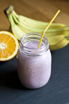 """A Very Berry Breakfast Smoothie:  (I changed mine up a little for added protein and a more """"filling"""" feeling.  I used 1/2 c. 2% milk and 1/2c. almond milk. I used about 1-2 cups frozen berries. 1 banana. about 1/2 a c. of hazelnut vanilla granola. and about 1 TB. of crunch PB. with 1/2c. Nancy's plain yogurt. I didn't add vanilla or honey - I found it plenty sweet with the fruit."""