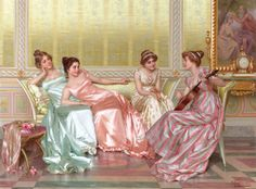 Oil painting Vittorio Reggianini - La Soiree beauties young girls party in roomA Renaissance Kunst, Art Ancien, Princess Aesthetic, Poses References, Italian Painters, Classical Art, Art Inspo, Art History, Art Gallery