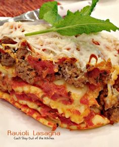 Ravioli Lasagna | Can't Stay Out of the Kitchen | amazing #lasagna uses #ravioli in the layers. #spaghettisauce #cheese #pasta