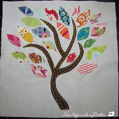 """Scrap Tree from @loveaffairwithmy brother ~~ My grandmother sewed many clothes for my sibs and me.  She did not quilt, so she had quilts made for us out of those scraps. One of my dearest treasures!  This scrap tree could be a cute pillow or wall hanging, made from similar scrap """"memories.""""  Love it either way! #quilts #quilting #sewing"""