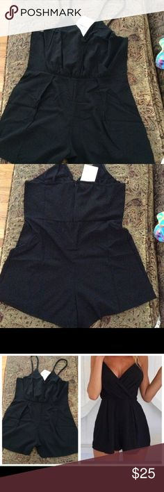"✨Dainty Black V Neck Romper✨ ✨Sexy Lightweight Black Romper✨Approx 16"" measured armpit to armpit ✨ Approx 15"" measured at waist✨Approx 20"" measured at hips✨A must have in your summer wardrobe Shorts"