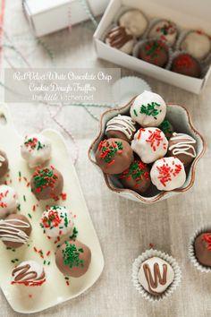 Red Velvet Cookie Dough Truffles. Pretty little bites of joy from   @The Little Kitchen | Julie Deily    for #CookieChatter.