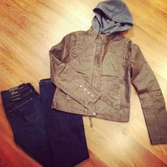A cropped bomber jacket and petite bootcut denim - our petite girl's go-to look for fall casual. ♥