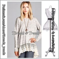 Baby Doll Tunic & Lace Adorable taupe baby doll top with gorgeous lace detail. Casual & comfortable made of cotton and spandex. It's not see see through. Slightly oversized. S, M, L can fit up to XL. Threads & Trends Tops