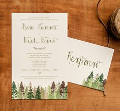 The Katie Rustic Wedding Invitation Wedding With Kids, Wedding In The Woods, Forest Wedding, Woodland Wedding, Rustic Wedding, Wedding Ideas, Mountain Wedding Invitations, Wedding Invitation Cards, Wedding Cards