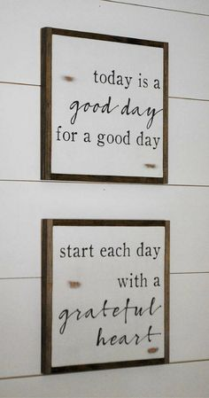 Love these two quotes! These would be good signs for the bathroom.. a little inspiration to start the day! Today is a good day for a good day, Start each day with a grateful heart, set of 2 signs || farmhouse decor || distressed rustic wall art, rustic decor, farmhouse sign, rustic sign #ad