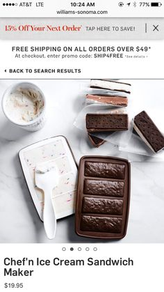 Pin for Later: These Are the Top 10 Summer Must Haves For Your Whole Family Chef'n Ice Cream Sandwich Maker Pint Of Ice Cream, Yummy Ice Cream, Ice Cream Flavors, Homemade Ice Cream Sandwiches, No Bake Brownies, Baking Brownies, Yogurt Maker, Homemade Brownies, Little Chef