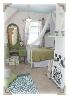 love this cottage style girl's bedroom!