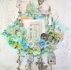 ♫ Shimmerz Mixed Media Scrapbook Layout Tutorial: Girly Teal