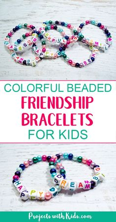 Colorful Beaded Friendship Bracelets!  These beaded bracelets are super easy to make and kids will have fun coming up with positive messages to share with their friends. A fun and easy DIY jewelry project for kids! Valentines, Gifts, party idea