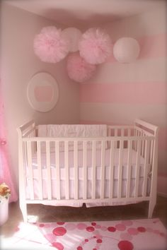 delicate pink tulle nursery pompoms