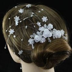 Quality Bridal Flower Hair CombInstant Delivery - Order Today Send Next Working DayHuge Stock - No need to wait Bridal Hair Flowers, Flower Hair, Bridal Hair Accessories, Hair Comb, Beautiful Bride, Fabric Flowers, White Flowers, Crystals, Handmade