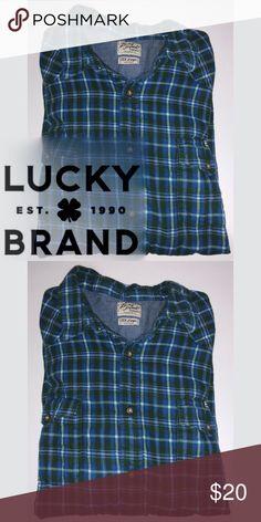Lucky Brand Flannel Button Down Lucky Brand Flannel Button Down - gently loved - soft flannel material Lucky Brand Shirts Casual Button Down Shirts