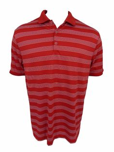 Nike Golf Dri Fit Polo Shirt Size L Wicked Tour Performance Red Striped #NikeGolf #ShirtsTops