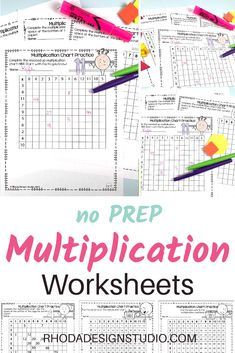 Printable worksheets to practice multiplication chart skills. Differentiated levels of practice for multiplication. Elementary worksheets that students will love to complete. Color the patterns and learn number relationships. Multiplication Facts Practice, Multiplication Strategies, Teacher Created Materials, Teachers Aide, Math Task Cards, Math Intervention, Math Activities, Teaching Resources, Elementary Math