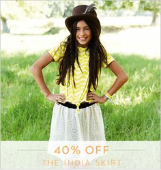 Hello festivals with the perfect skirt 40% off for four days £24 #Johnnieb #Boden http://www.boden.co.uk/en-GB/Girls-9-16yrs-Skirts/92137/Girls-9-16yrs-India-Skirt.html#main