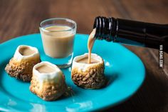 Toasted marshmallow shot glasses with Baileys.