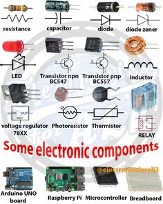 Some Electronic Components    #electronics #electronica #electronicarts #electronico #electronicrepair #electronicos #electronicsstore Basic Electronic Circuits, Electronic Circuit Projects, Electronic Schematics, Electrical Projects, Electronic Deals, Mechatronics Engineering, Electronic Engineering, Electrical Engineering, Chemical Engineering