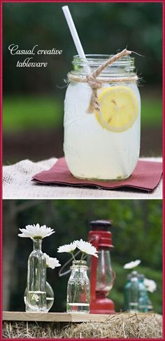 Country Chic Baby Shower Ideas | Homemade mason jar drinks and decorations