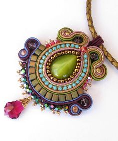 RESERVED for Kathleen  Soutache pendant in Green by MiriamShimon, $85.00