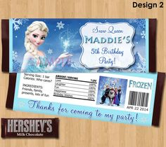 Disney Frozen Candy Bar Wrappers  Frozen by KidsPartyPrintables, $4.99