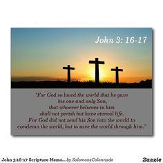 John 3:16-17 Scripture Memory Card Postcard
