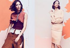 (Left) Alana Zimmer wears Kahle Studio top and skirt (Right) Model poses in Jil Sander top and skirt