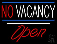 No Vacancy Open White Line Neon Sign 24 Tall x 31 Wide x 3 Deep, is 100% Handcrafted with Real Glass Tube Neon Sign. !!! Made in USA !!!  Colors on the sign are Blue, Red and White. No Vacancy Open White Line Neon Sign is high impact, eye catching, real glass tube neon sign. This characteristic glow can attract customers like nothing else, virtually burning your identity into the minds of potential and future customers.