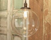 """Chandelier Lighting with 12"""" Glass Globe Shade and Exposed Socket"""